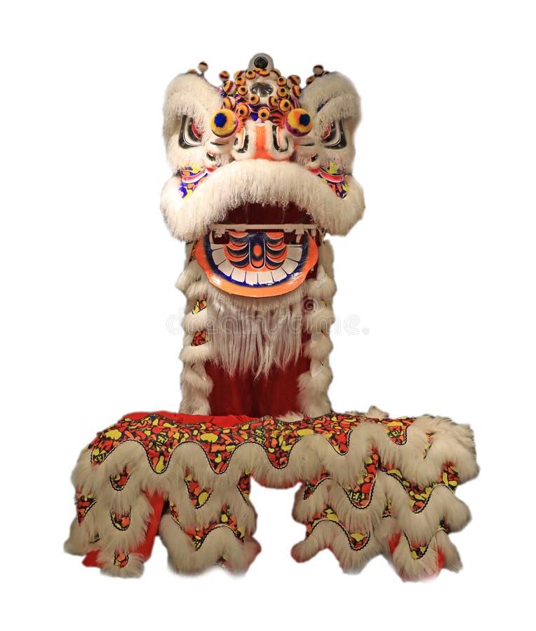 Den kinesiska maskeringen för lejondansen som isoleras på vit bakgrund, kinesisk stil, står upp arkivfoton