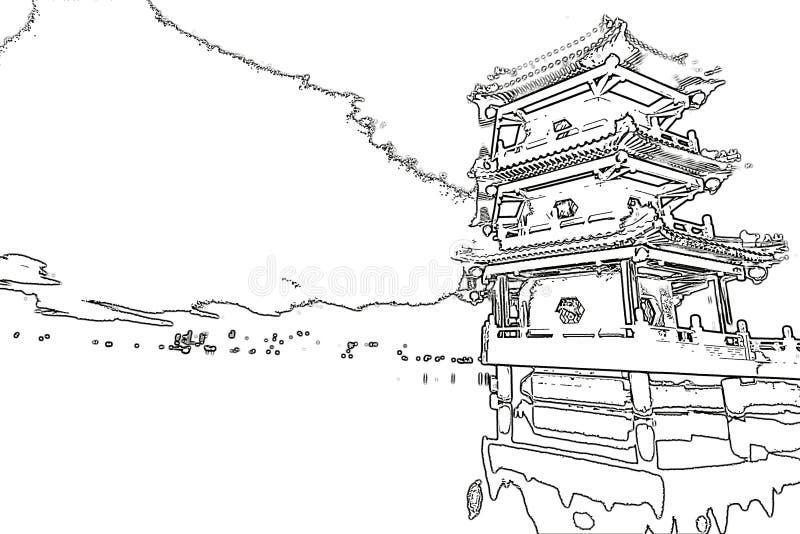 Den kinesiska pagoden och sjön skissar royaltyfria bilder