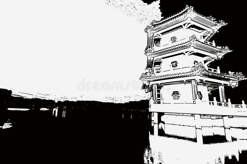 Den kinesiska pagoden och sjön skissar royaltyfri fotografi