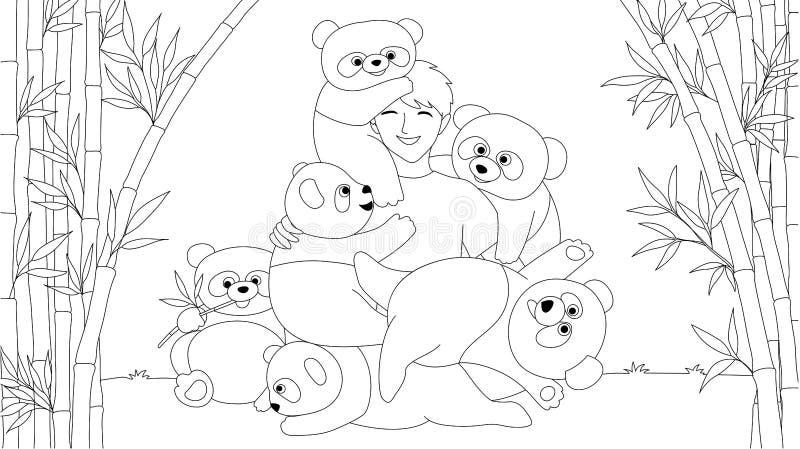 Den kinesiska pojken tycker om att spela med gulliga pandor i bambuträdskogen för sidan för den färga boken för ungar och tonårig royaltyfri illustrationer