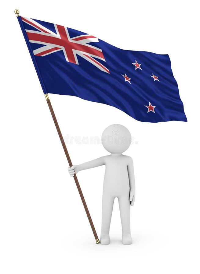 Den Kiwi Patriot innehavflaggan av den nyazeeländska 3Den framför royaltyfri illustrationer
