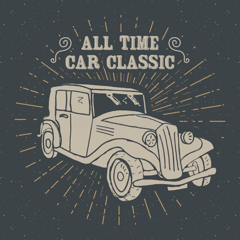 Den klassiska biltappningetiketten, den drog handen skissar, det grunge texturerade retro emblemet, det typografidesignt-skjortan stock illustrationer
