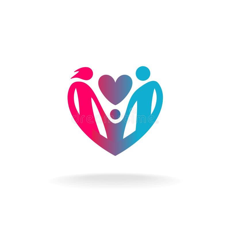 Den klassiska familjen av tre personer i en hjärta formar logo royaltyfri illustrationer