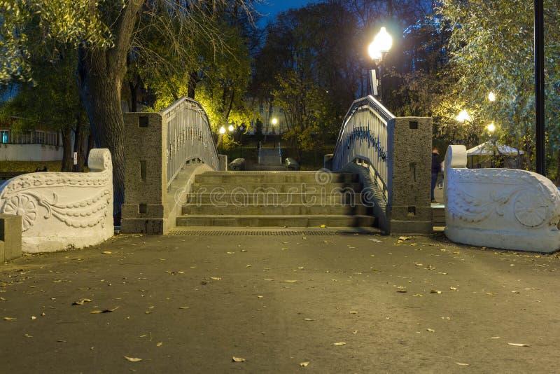 Den klassiska trappuppgångbron med järn figurerade räcket i parkerar Eveninеg royaltyfria foton