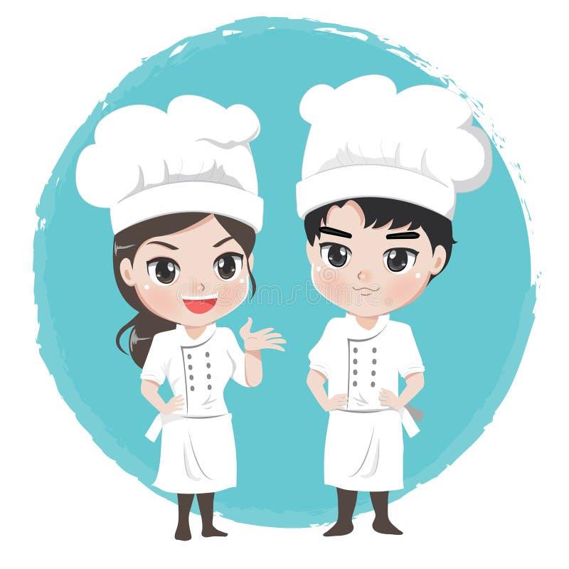 Den kockpojken och flickan är teckenet för maskotrestaurang vektor illustrationer