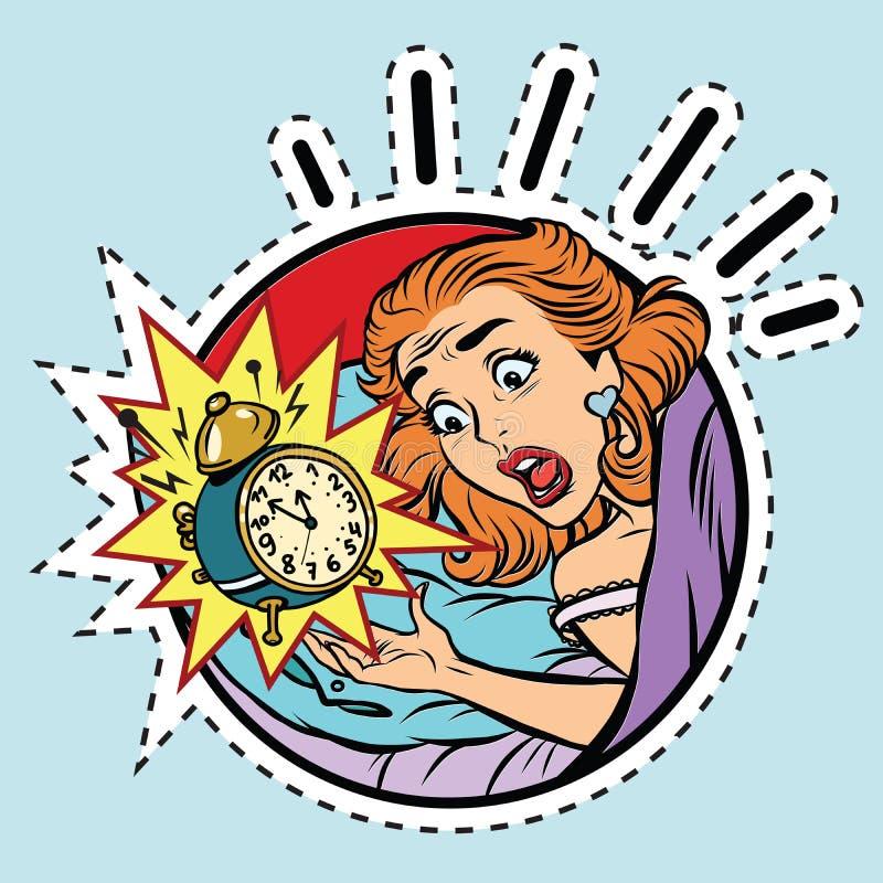 Den komiska flickan vaknade upp från larmet vektor illustrationer