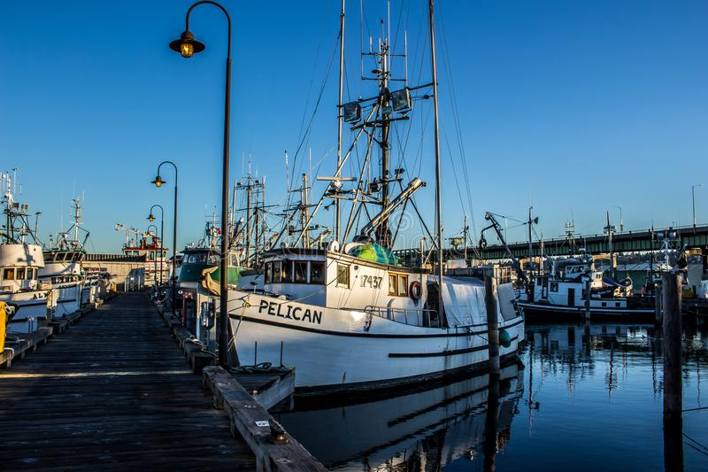 Den kommersiella fiskebåten anslöt på terminalen för fiskare` s i Seattle Washington arkivbild