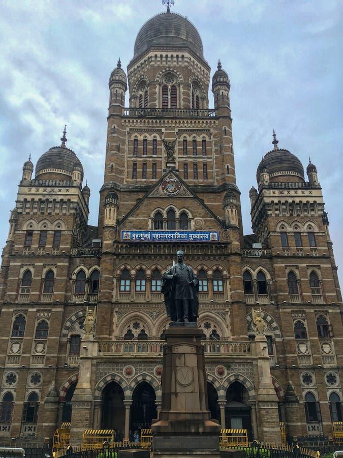 Den Kommunal Korporation byggnaden, Mumbai lokaliserade i södra Mumbai i maharashtraen, Indien är en motsatt arvbyggnad för kvali royaltyfria bilder