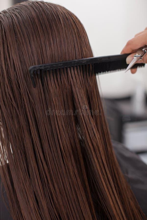 Den kompetenta unga frisören tjänar som en klient in arkivbild