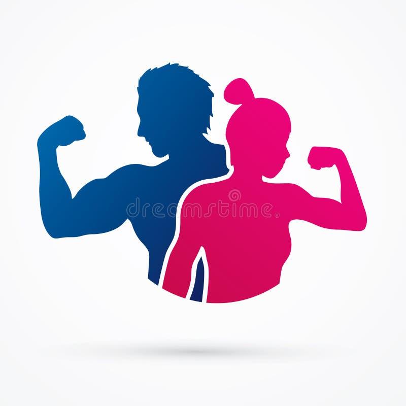 Den konditionkonturmannen och kvinnan poserar vektor illustrationer