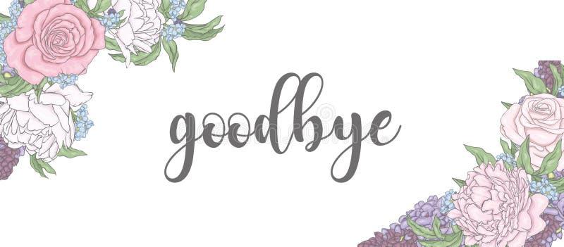 Den konfektions- designen av vykortdesignen älskar jag dig, mig missa dig, farväl och Hello Vykort med rosor och pioner vektor illustrationer