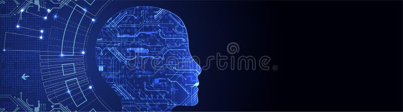 den konstgjorda hjärnan circuits mainboard för elektronisk intelligens för begrepp över teknologi för planet för telefon för jord stock illustrationer