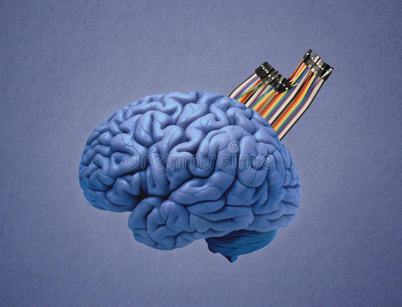 den konstgjorda hj?rnan circuits mainboard f?r elektronisk intelligens f?r begrepp ?ver arkivbild