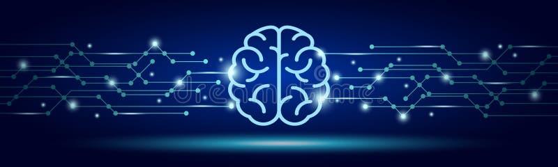 den konstgjorda hj?rnan circuits mainboard f?r elektronisk intelligens f?r begrepp ?ver Faktisk teknologirengöringsdukbakgrund Be royaltyfri illustrationer