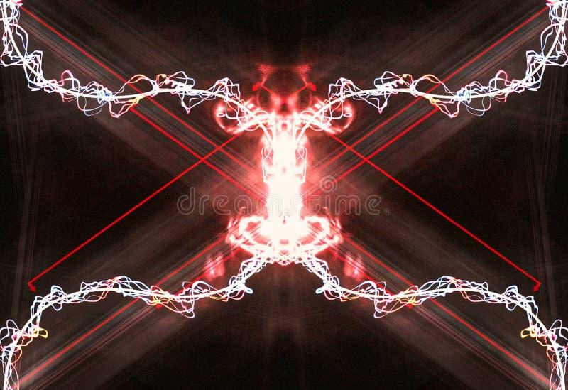 Den konstnärliga abstrakta glödande elektriska oändligheten formade blixteffektbakgrund royaltyfri illustrationer