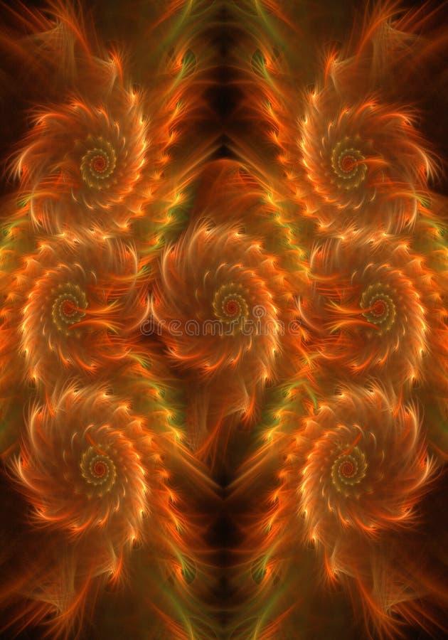 Den konstnärliga datoren för abstrakt begrepp 3d frambragte illustrationen av ren slät curvy brännhet fractalbakgrund royaltyfri illustrationer