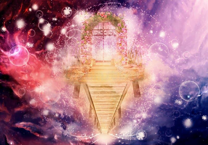 Den konstnärliga färgrika datoren för tolkningen 3d frambragte illustrationen av en Climbable himmels för högre mått konstverk fö stock illustrationer