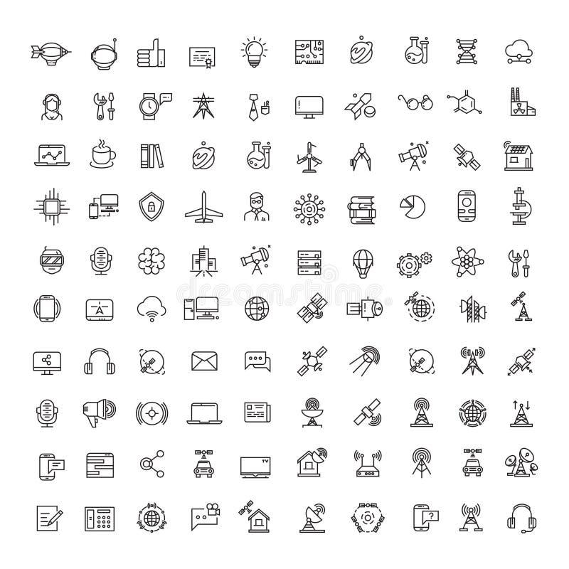Den kontors-, vetenskaps-, teknologi-, utrymme- och kommunikationslinjen symboler ställde in stock illustrationer