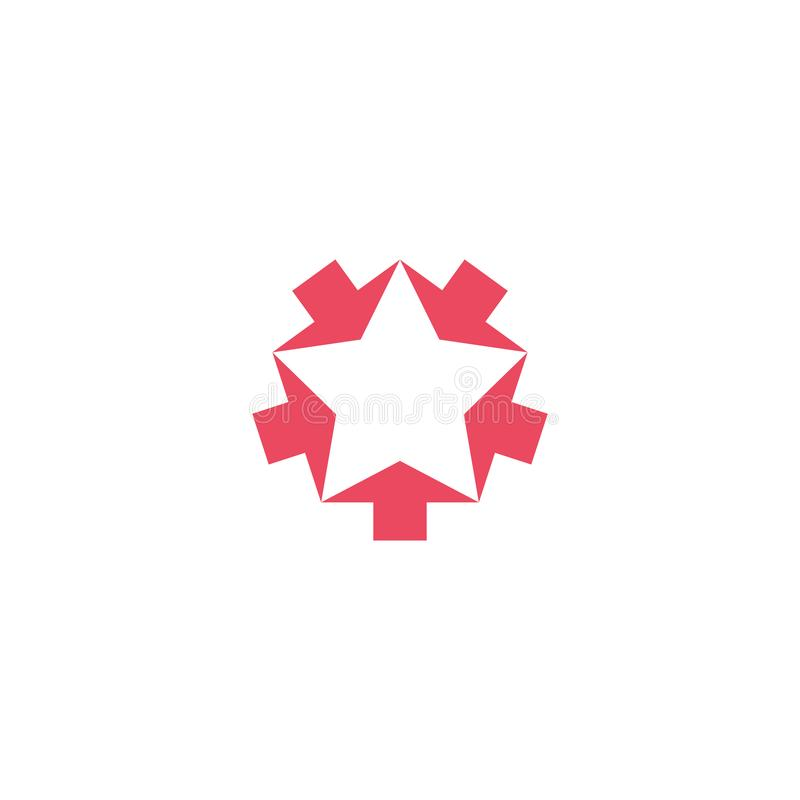 Den konvergenta rosa logomodellen för fem pilar, konvergerar formformstjärnan, idérik geometrisk teamwork för grafiskt symbol royaltyfri illustrationer