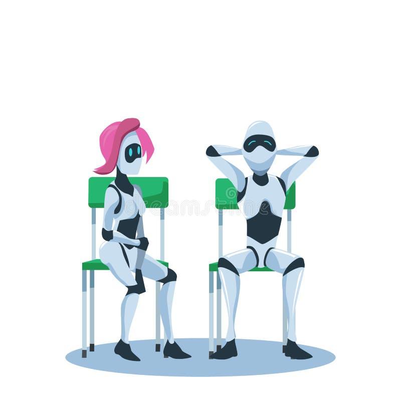 Den kopplade av mannen och den eftertänksamma kvinnliga roboten sitter på stol royaltyfri illustrationer