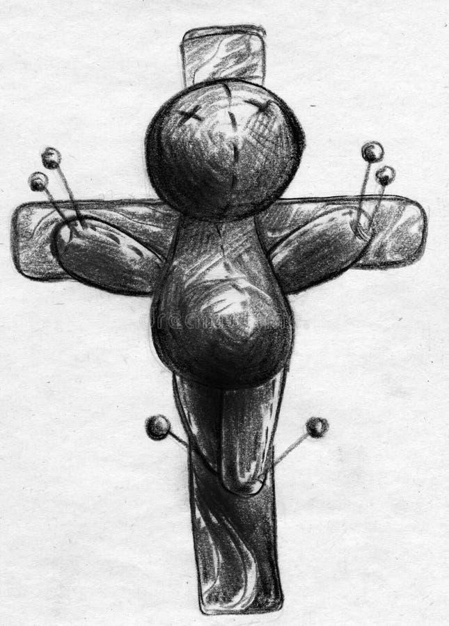 Den korsfäste voodoodockan skissar stock illustrationer