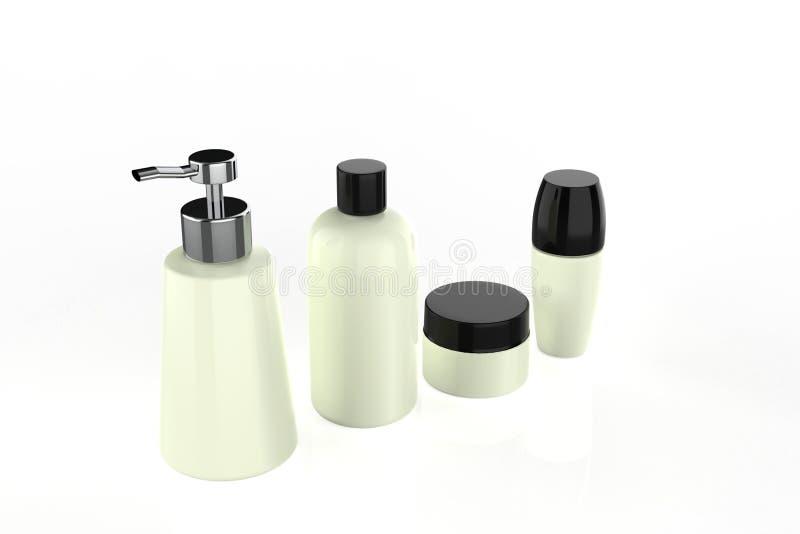 Den kosmetiska flaskuppsättningen för vätskekräm stelnar lotionskönhetsprodukten vektor illustrationer