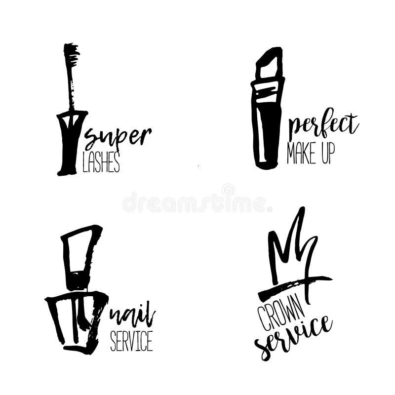 Den kosmetiska logoen i handen dragen stil, makeup, för skönhetsalong, stylistvektorn som brännmärker design med läppstift, spika vektor illustrationer