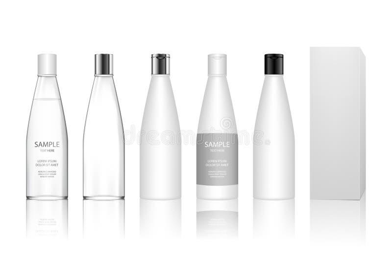 Den kosmetiska plast- flaskan f?r stelnar, lotion, kr?m, schampo, badskum, skincare vektor illustrationer
