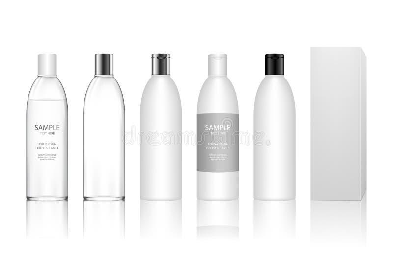Den kosmetiska plast- flaskan f?r stelnar, lotion, kr?m, schampo, badskum, skincare royaltyfri illustrationer