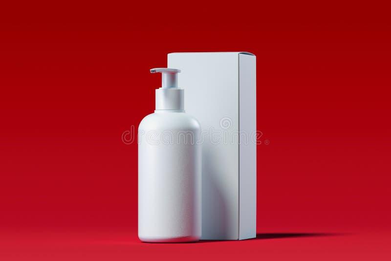 Den kosmetiska utmataren för kräm, stelnar, lotion Skönhetsproduktpacke framförande 3d stock illustrationer