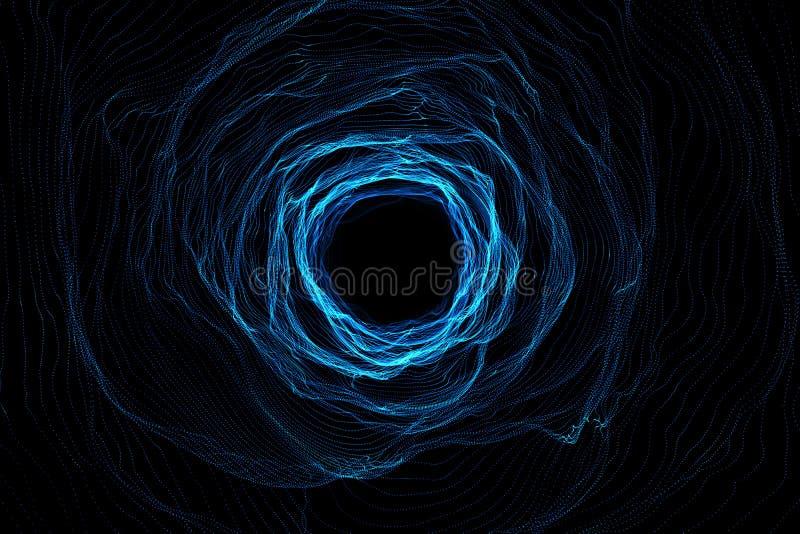Den kosmiska maskhålet, begrepp för utrymmelopp, tratt-formade tunnelen som kan förbinda ett universum med andra framförande 3d stock illustrationer