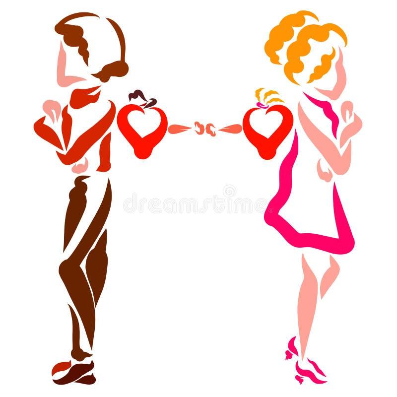 Den kränkta mannen och kvinnan vände i väg från de, men deras hjärtor önskar att vara tillsammans stock illustrationer