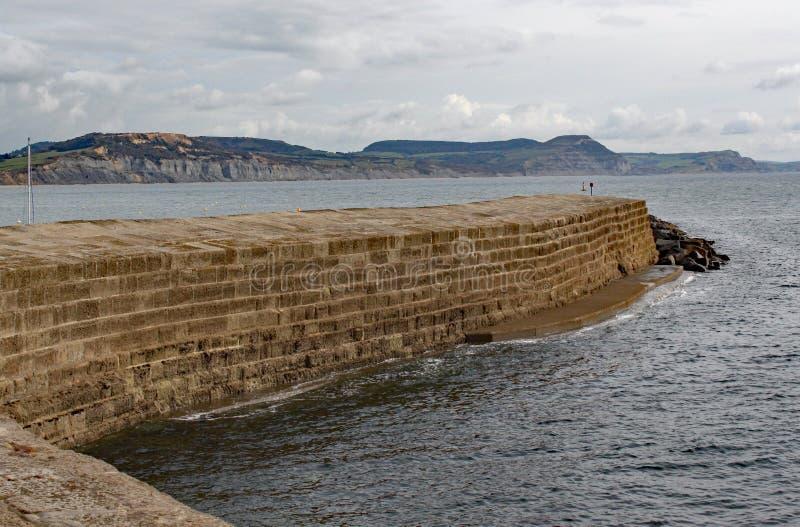 Den krökta väggen av Cobben på Lyme Regis, Dorset i England arkivbild