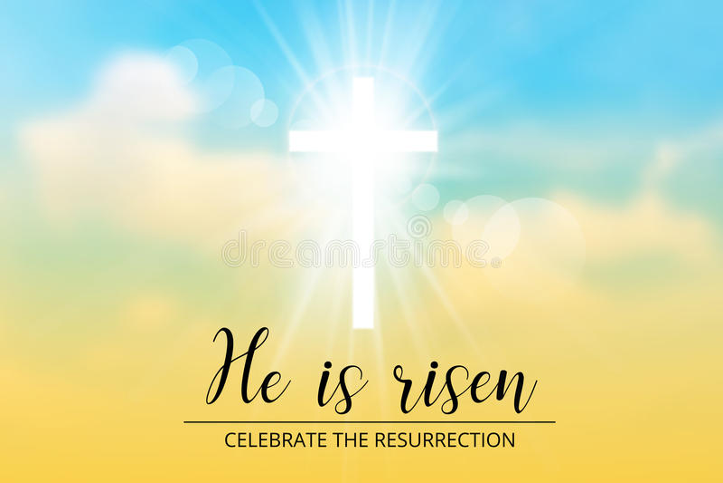 Den kristna bevekelsegrunden för påsken, med text är han uppstigen vektor illustrationer