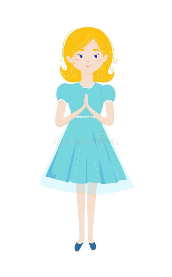 Den kristna flickan ber med vikta händer i bön och anseende f?rsta helgedom f?r nattvardsg?ng vektor illustrationer