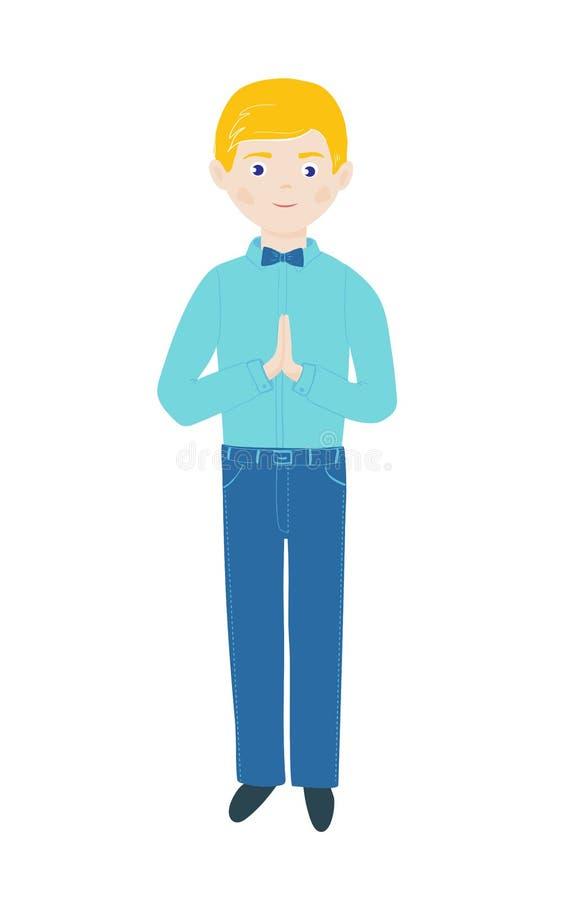 Den kristna pojken ber med vikta händer i bön och anseende f?rsta helgedom f?r nattvardsg?ng royaltyfri illustrationer
