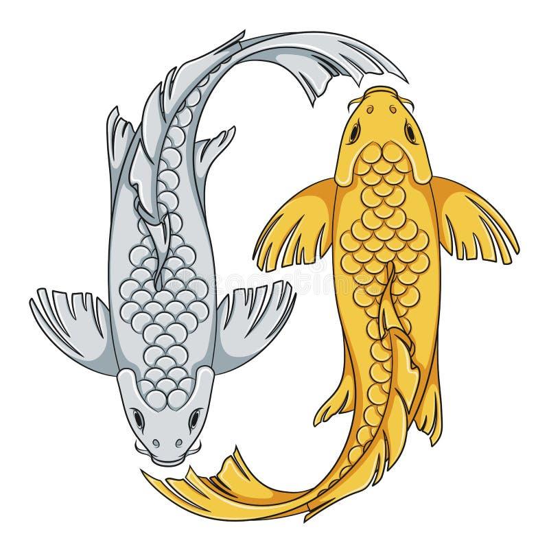 Den kulöra illustrationen med guld och silver färgade koikarpfisken Isolerade vektorobjekt vektor illustrationer