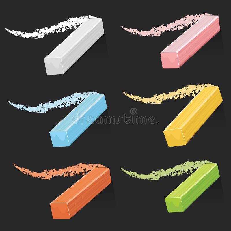 Den kulöra konstnären chalks, pastellpinnar med slaglängder på svart tavlavektoruppsättning vektor illustrationer