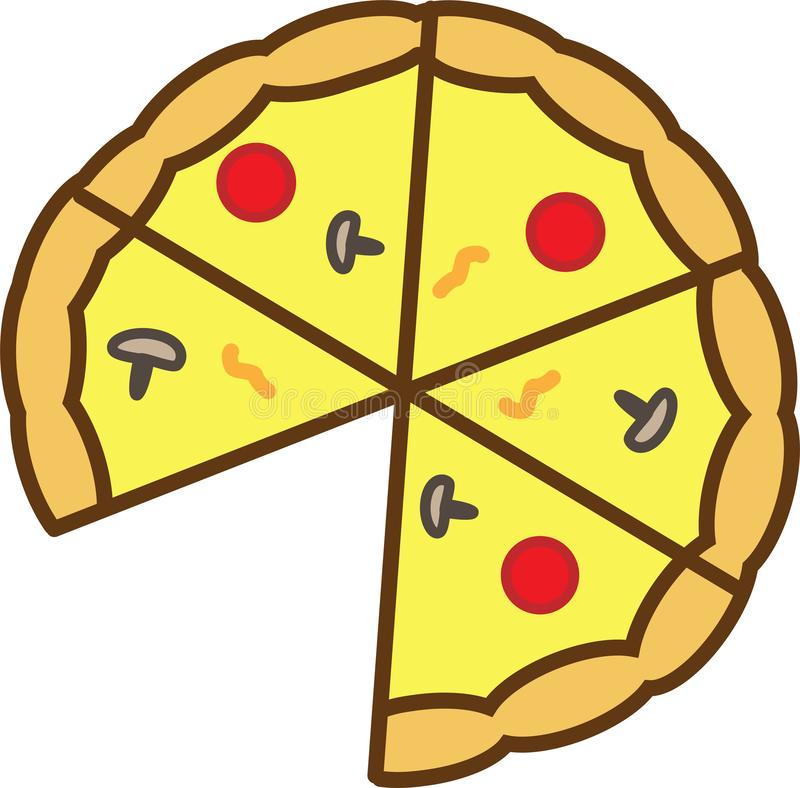 Den kulöra symbolen är ett pizzasnitt in i 6 stycken, utan 1 skiva, med champinjoner, tomater och smältt ost vektor illustrationer