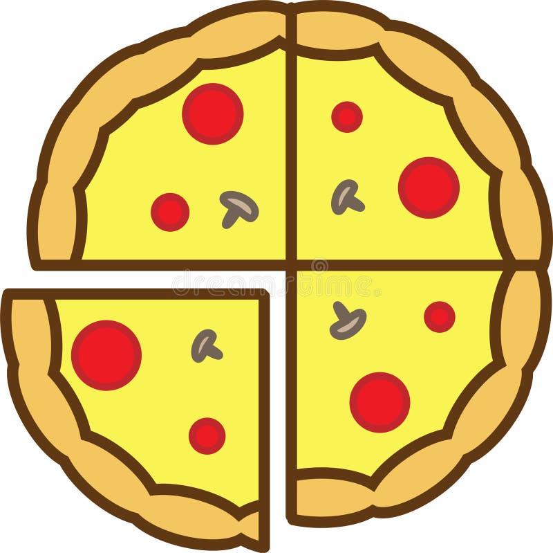 Den kulöra symbolen för hel pizza skivas in i 4 stycken med champinjoner, tomater och ost vektor illustrationer