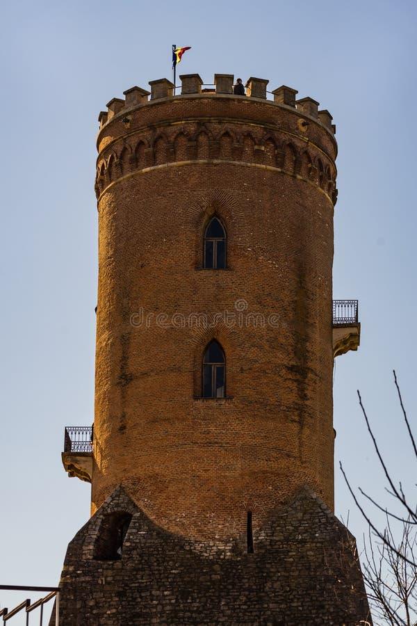 Den kungliga domstolen och Chindia tornet i Targoviste, Rumänien arkivbilder