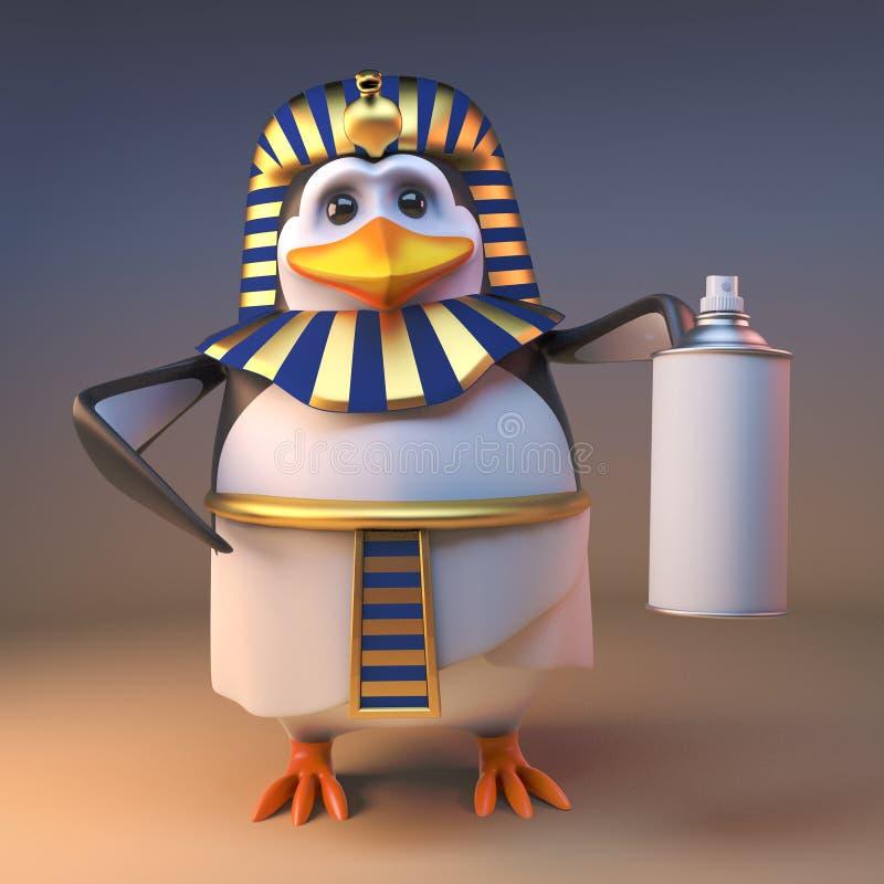 Den kungliga farao Tutankhamun som för pingvinet 3d rymmer en ærosolsprej kan, illustrationen 3d vektor illustrationer