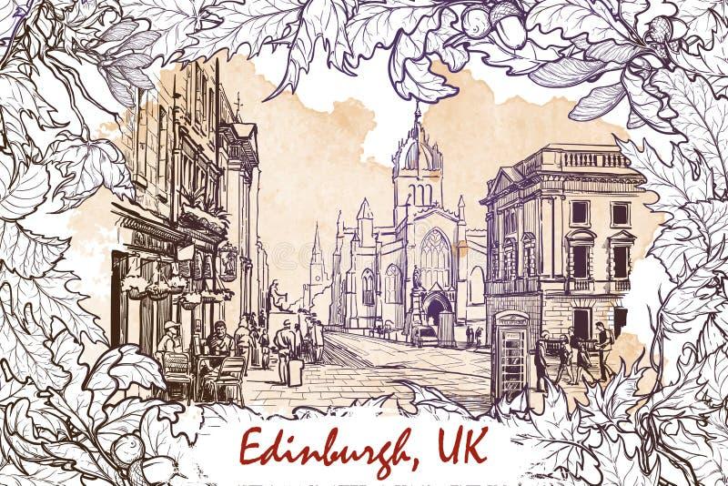 Den kungliga milgatan skissar på en grungebakgrund stock illustrationer
