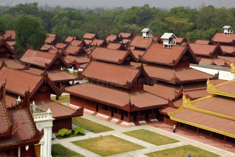 Den kungliga slotten i Mandalay, Myanmar arkivbilder