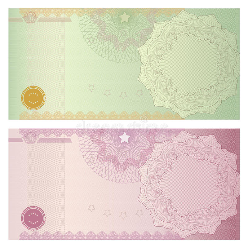 Den kupong-/kupongmallen med guilloche mönstrar vektor illustrationer