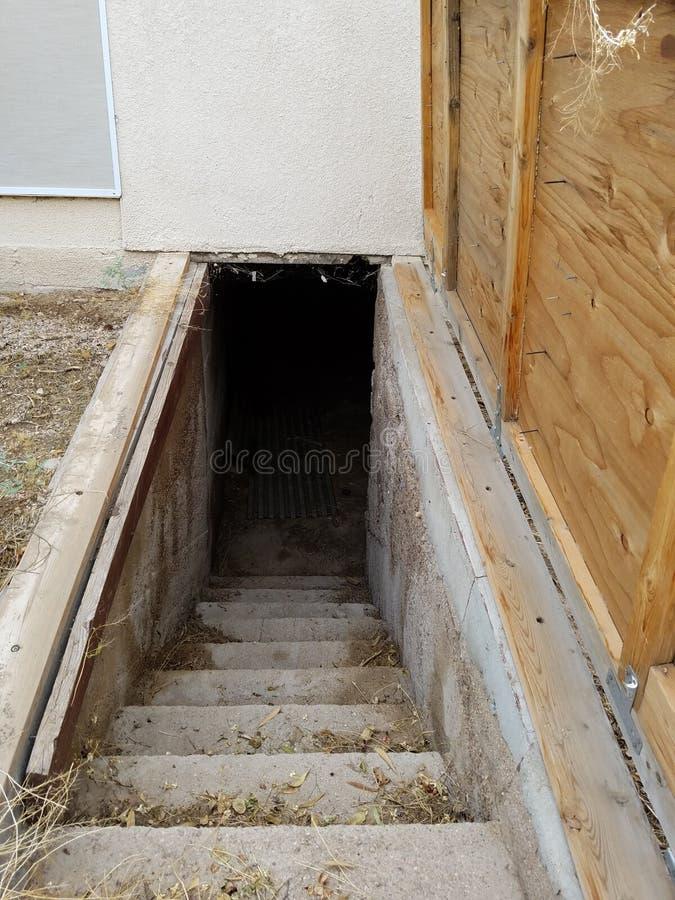 Den kusliga utomhus- trappan ner in i rotar källaren royaltyfri fotografi