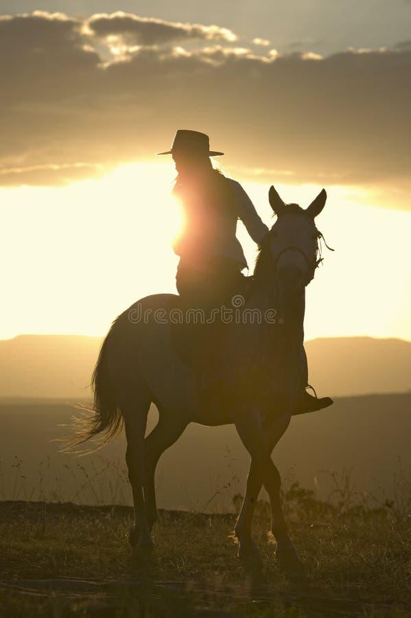 Den kvinnliga den hästryggryttaren och hästen rider för att förbise på Lewa djurlivnaturvård i norr Kenya, Afrika på solnedgången royaltyfri fotografi