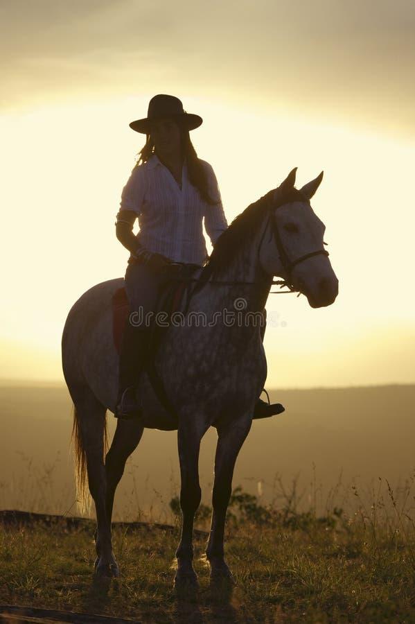 Den kvinnliga den hästryggryttaren och hästen rider för att förbise på Lewa djurlivnaturvård i norr Kenya, Afrika på solnedgången royaltyfri foto