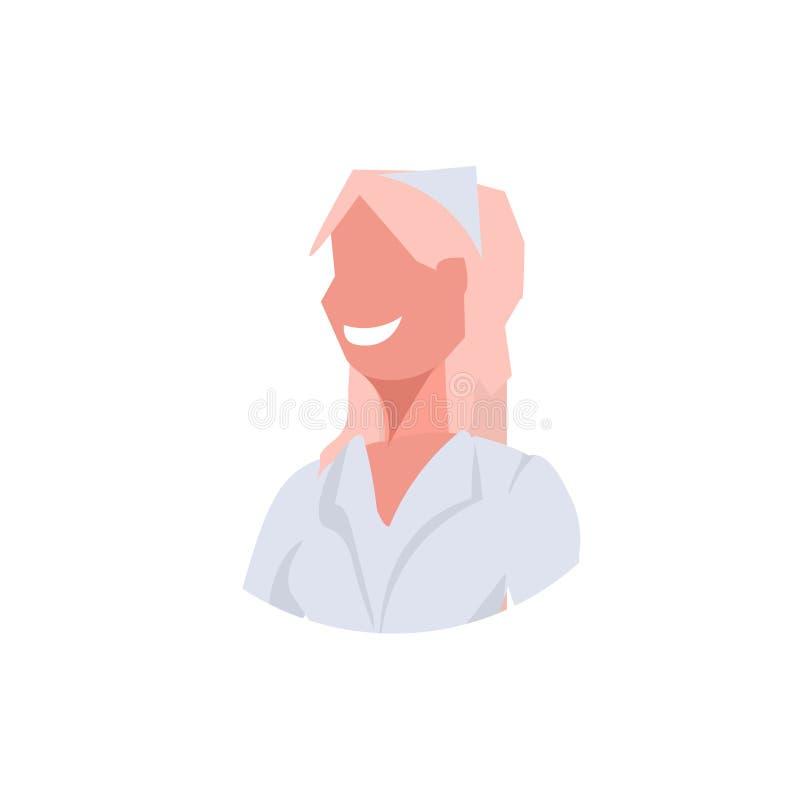 Den kvinnliga doktorn vårdar den blonda arbetaren för den medicinska kliniken för kvinnaframsidaavataren i det vita enhetliga yrk vektor illustrationer