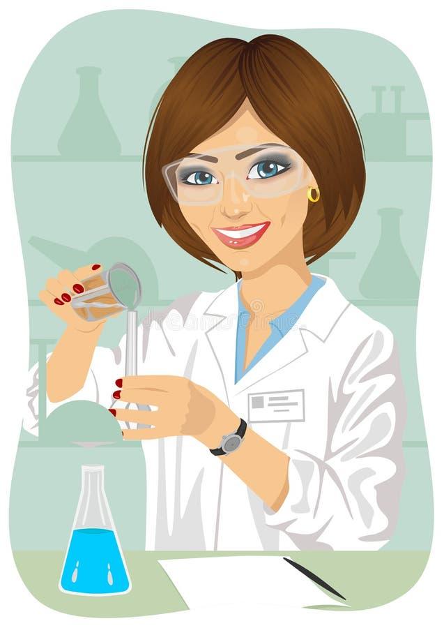 Den kvinnliga forskaren blandar lösningar i provrör som bär skyddande exponeringsglas royaltyfri illustrationer